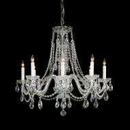 Crystorama 1138-PB-CL-MWP Traditional Crystal Hanging Brass Finish 26 Inch Tall Chandelier Lamp - 8 Candles
