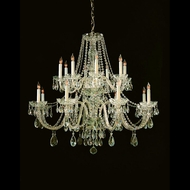 Crystorama 1139-PB-CL-MWP Traditional Crystal 16 Candle Brass 37 Inch Diameter Large Chandelier