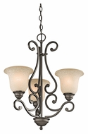 Kichler 43223OZ Camerena Traditional 20 Inch Diameter Old Bronze 3 Lamp Small Chandelier Lighting
