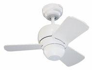 Monte Carlo Fans 3TF24WH Micro 24 3 Blade White 24 Inch Wide Transitional Mini Ceiling Fan