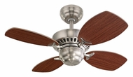 Monte Carlo Fans 4CO28BS Colony II Brushed Steel 4 Blade Mini Ceiling Fan With Mahogany Blades