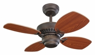 Monte Carlo Fans 4CO28RB Colony II Roman Bronze Finish 28 Inch Wide Mini Home Ceiling Fan With Teak Blades