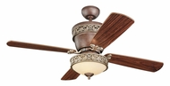 Monte Carlo Fans 4VG42/28TBD-L Villager 4 Blade Tuscan Bronze Finish 28 Or 42 Inch Wide Traditional Ceiling Fan Lighting