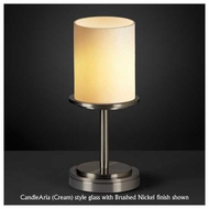 Justice Design 879810 Dakota 1-Light Short Table Lamp with Flat Rim Cylinder Glass