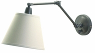 House of Troy PL20OB Library Lamp Collection Swing Arm Wall Light with Linen Hardback Shade