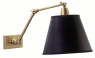 House of Troy dl20WB Lincoln Collection Fully Adjustable Swing Arm Wall Lamp with Black Parchment Shade