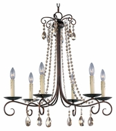Maxim 22196UR Adriana 6 Candle 27 Inch Diameter Small Urban Rustic Chandelier Light