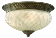 Hinkley 2123-PZ-EST Plantation 8 3/4 inch outdoor fluorescent ceiling 3-lite flush mount in Pearl Bronze