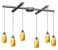 ELK 110-6YW Milan 33 Inch Wide Satin Nickel Finish 6 Lamp Multi Pendant With Yellow Blaze Glass