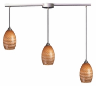 ELK 517-3L-C Mulinello Satin Nickel Linear Bar 3 Light Hanging Light - Cocoa Glass