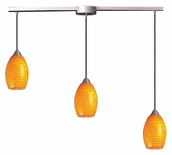 ELK 517-3L-CN Mulinello Linear 3 Light 36 Inch Wide Drop Ceiling Light Fixture - Canary Glass
