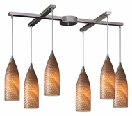 ELK 522-6C Cilindro 6 Light Satin Nickel Canopy Cocoa Glass Bar Lighting - 33 Inches Wide