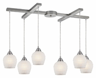 ELK 528-6WHT Fusion White Mosaic 6 Lamp Multi Hanging Light Fixture - 33 Inches Wide