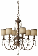 Feiss for Less F2722-6-FG Clarissa 6 Lamp Firenze Gold Crystal Chandelier With Shades