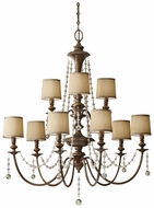 Feiss for Less F2725-6-3-FG Clarissa Large 9 Light Firenze Gold Crystal Chandelier With Shades