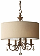 Feiss F2727-4-FG Clarissa Classic Firenze Gold 21 Inch Diameter 4 Light Chandelier With Shade