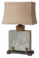 Uttermost 26321-1 Slate Square 28 Inch Tall Table Lamp Lighting With Copper Highlights