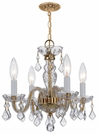 Crystorama 1064PBCLMWP Traditional Crystal 4 Light Antique Brass Chandelier