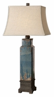 Uttermost 26833 Soprana Ceramic 37 Inch Tall Transitional Distressed Blue Lamp