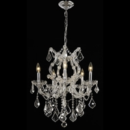Elegant 2800D20C-RC Maria Theresa 6 Light Crystal Plug In Chandelier - Chrome Finish
