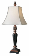 Uttermost 27296 Henriette Speckled Bronze Leaf Transitional 30 Inch Tall Skinny Table Lamp