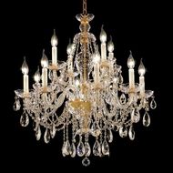 Elegant 7829D28G-RC Alexandria Gold Crystal 12 Light Candelabra Chandelier Light