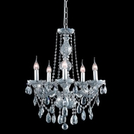 Elegant 7955D21SS-SS-RC Verona 5 Light Rounded Drop Crystal Silver Shade Decorative Chandelier