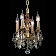 Elegant 9104D10FG-GT-RC Lillie Golden Teak Crystal 4 Candle Chandelier Lamp - French Gold