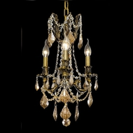 Elegant 9203D13AB-GT-RC Rosalia 3 Light Vintage Bronze Chandelier with Golden Teak Crystals