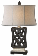 Uttermost 27421 Chioma Transitional Crackled Matte Black Lamp - 28 Inches Tall