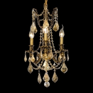 Elegant 9203D13FG-GT-RC Rosalia Traditional Golden Teak Crystal French Gold Miniature Chandelier