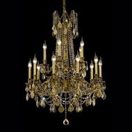 Elegant 9215D28FG-GT-RC Rosalia French Gold 15 Candle Vintage Chandelier with Golden Teak Crystals