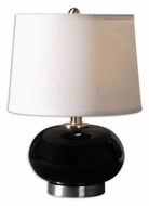 Uttermost 29275-1 Clayton 16 Inch Tall Gloss Black Transitional Table Top Lamp