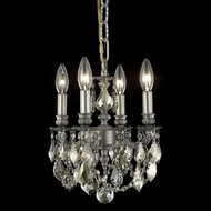 Elegant 9104D10PW-GT-RC Lillie Golden Teak Crystal 10  Mini Chandelier with Pewter Finish