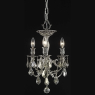 Elegant 9203F13PW-GT-RC Rosalia Classic Pewter 14  Tall Overhead Lighting with Golden Teak Crystals