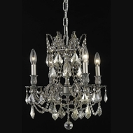 Elegant 9204D17PW-GT-RC Rosalia Golden Teak Crystal 21  Tall Pewter Chandelier Light