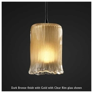 Justice Design GLA-8815-16 1-Light Mini Pendant with Cylinder Rippled Rim Glass