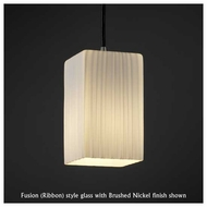 Justice Design 881615 Large Mini Pendant Light with Flat Rim Square Glass
