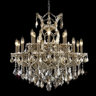 Elegant 2800D30GT-GT-RC Maria Theresa Golden Teak Traditional 19 Light Crystal Candle Chandelier