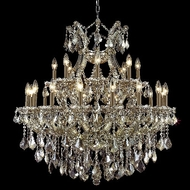 Elegant 2800D36GT-GT-RC Maria Theresa Crystal Classic Candelabra Chandelier with Golden Teak Finish