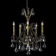 Elegant 9605D21AB-SS-RC Monarch 21  5-lamp Small Antique Bronze Silver Shade Crystal Chandelier Lamp