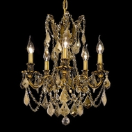 Elegant 9205D18FG-GT-RC Rosalia 5-light 22  French Gold Chandelier Lamp with Golden Teak Crystals
