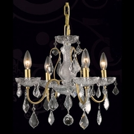 Elegant 2015D17G-RC St. Francis 4-light Mini Gold Chandelier Lamp with Crystals