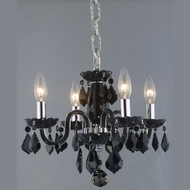 Elegant 7804D15B-JT-RC Rococo Mini 4-light Black Chandelier with Jet Crystal