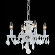 Elegant 7804D15WH-WH-RC Rococo Traditional 4-light Mini White Chandelier with Crystal