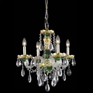 Elegant 7810D19GN-RC Alexandria Ornate Gold and Green Mini Crystal Chandelier Lighting