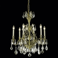 Elegant 9606D24AB-GS-RC Monarch 6-lamp Antique Bronze Golden Shadow Crystal Chandelier Lighting
