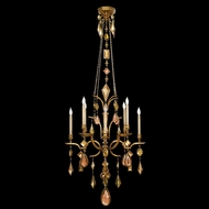 Fine Art Lamps 725640-1 Encased Gems 8-lamp Gold Chandelier Lighting with Clear Crystals