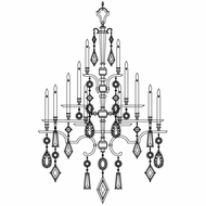 Fine Art Lamps 714040-3 Encased Gems Extra Large 24-light Silver Crystal Chandelier with All Clear Gems