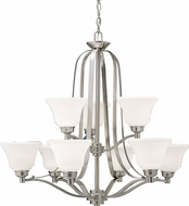 Kichler 1784NI Langford Brushed Nickel Contemporary 9-Light, 2-Tier Chandelier